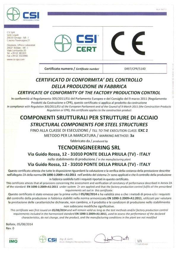 Tecnoegineering certificate of compliance